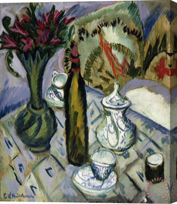 Ernst Ludwig Kirchner Teapot Bottle And Red Flowers Stretched Canvas Print / Canvas Art