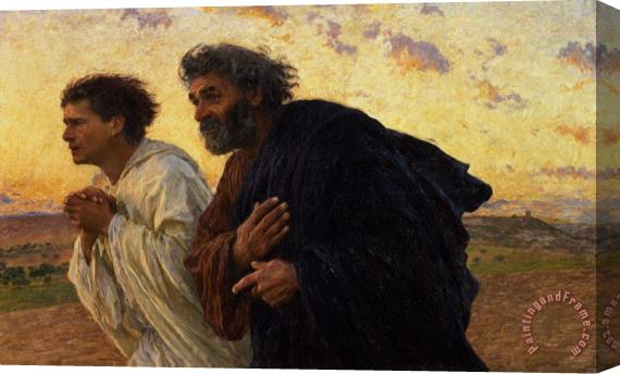 Eugene Burnand The Disciples Peter and John Running to the Sepulchre on the Morning of the Resurrection Stretched Canvas Print / Canvas Art
