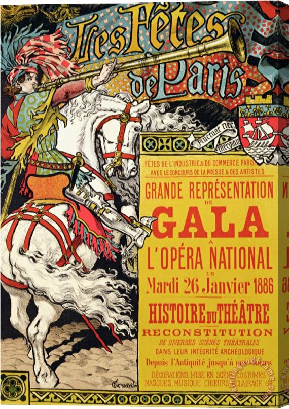 Eugene Grasset Reproduction of a Poster Advertising The Fetes De Paris at The Opera National Paris 1885 Stretched Canvas Print / Canvas Art