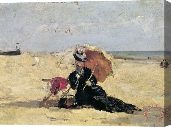 Eugene Louis Boudin Woman with a Parasol on the Beach Stretched Canvas Print / Canvas Art
