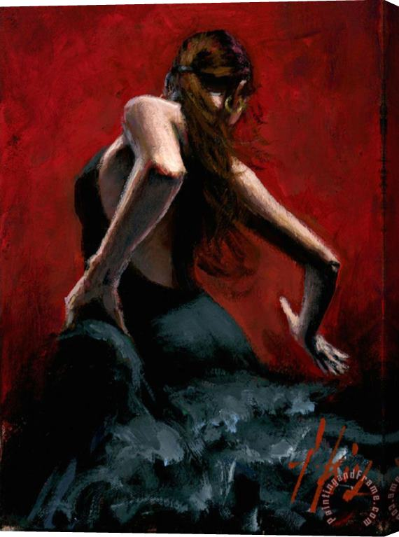 Fabian Perez Dancer in Black Dress Stretched Canvas Print / Canvas Art
