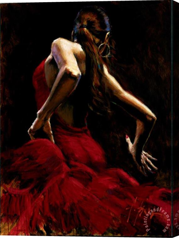 Fabian Perez Dancer in Red Stretched Canvas Print / Canvas Art
