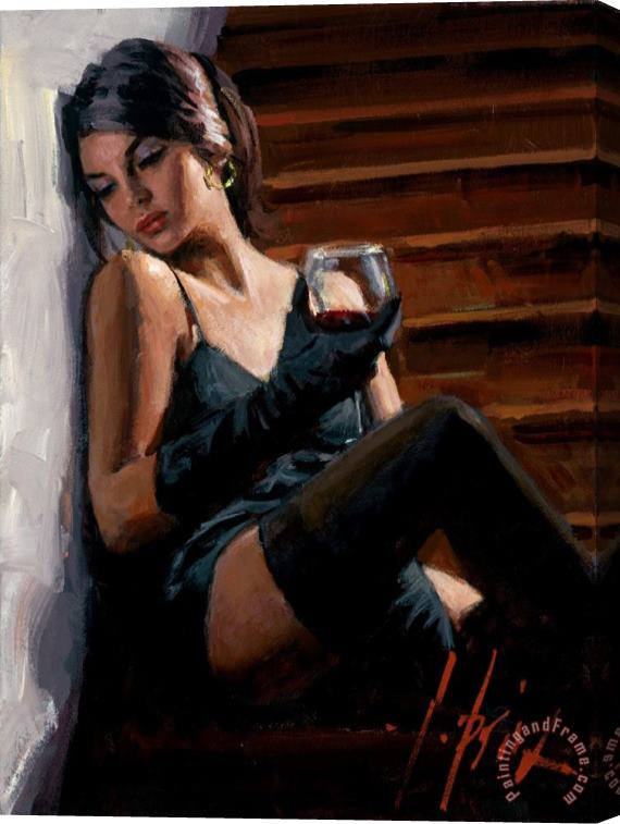 Fabian Perez Saba on The Stairs White Wall Stretched Canvas Print / Canvas Art