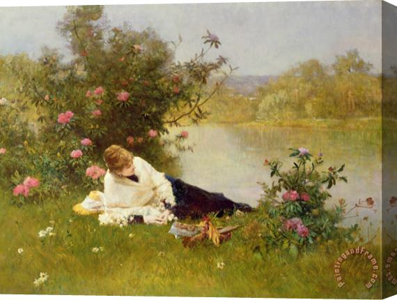 Ferdinand Heilbuth Woman on a River Bank Stretched Canvas Print / Canvas Art