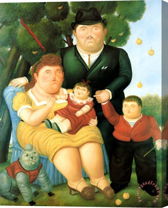 Fernando Botero Family Ii Stretched Canvas Print Canvas