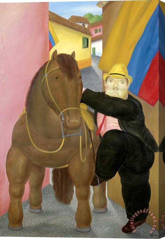 fernando botero Man And Horse Stretched Canvas Print / Canvas Art