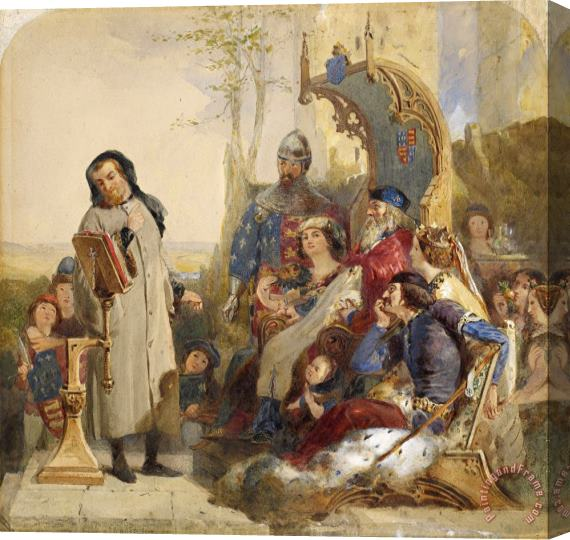 Ford Madox Brown Chaucer at The Court of Edward III 2 Stretched Canvas Print / Canvas Art