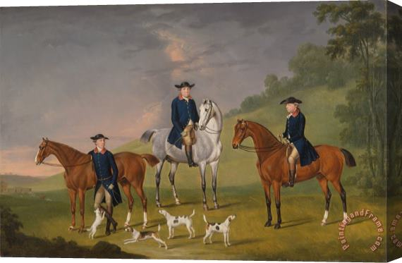 Francis Sartorius John Corbet, Sir Robert Leighton And John Kynaston with Their Horses And Hounds Stretched Canvas Print / Canvas Art