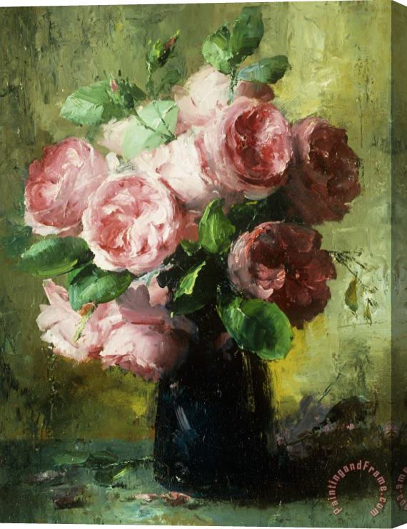 Frans Mortelmans Pink Roses In A Vase Stretched Canvas Print / Canvas Art