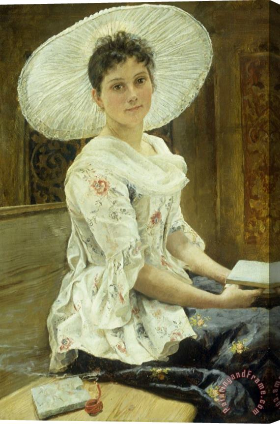 Franz Xaver Simm A Young Beauty in a White Hat Stretched Canvas Print / Canvas Art