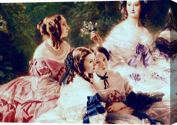 Franz Xaver Winterhalter Empress Eugenie and her Ladies in Waiting Stretched Canvas Print / Canvas Art