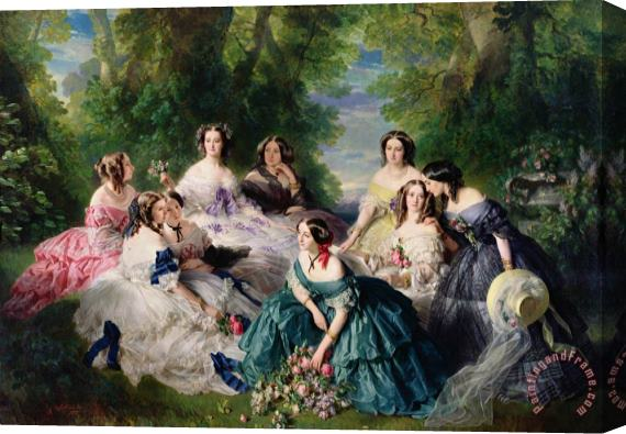Franz Xaver Winterhalter Empress Eugenie Surrounded by her Ladies in Waiting Stretched Canvas Print / Canvas Art