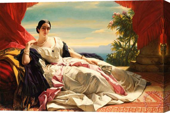Franz Xaver Winterhalter Portrait of Leonilla, Princess of Sayn Wittgenstein Sayn Stretched Canvas Print / Canvas Art