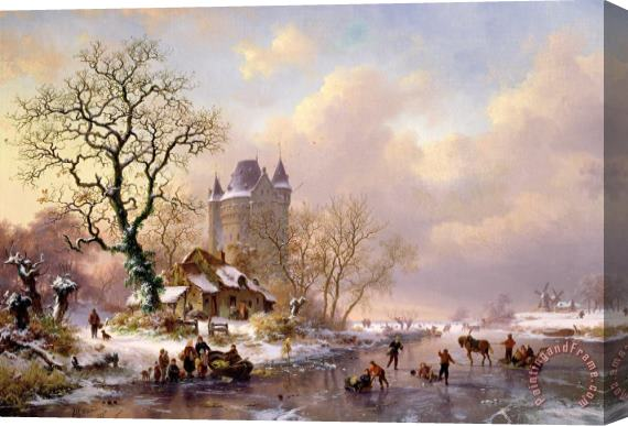 Frederick Marianus Kruseman Winter Landscape with Castle Stretched Canvas Print / Canvas Art