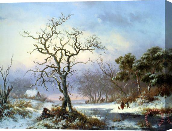 Frederik Marianus Kruseman Faggot Gatherers in a Winter Landscape Stretched Canvas Print / Canvas Art