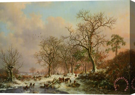 Frederik Marianus Kruseman Wood Gatherers in a Winter Landscape with a Castle Beyond Stretched Canvas Print / Canvas Art