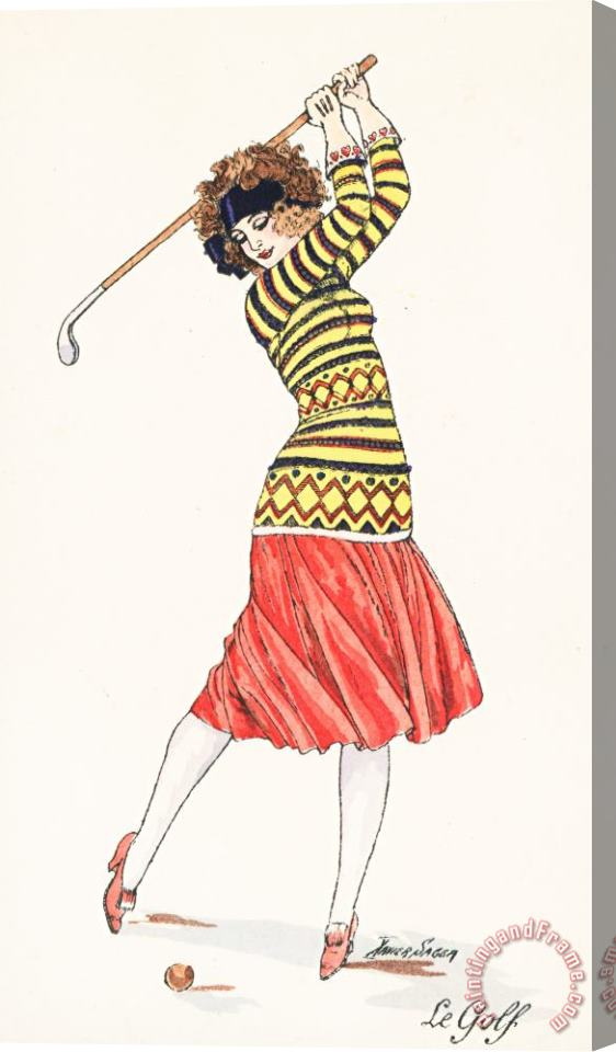 French School A Woman In Full Swing Playing Golf Stretched Canvas Print / Canvas Art