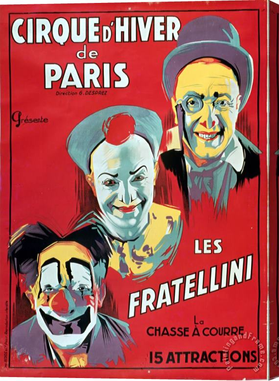 French School Poster advertising the Fratellini Clowns Stretched Canvas Print / Canvas Art
