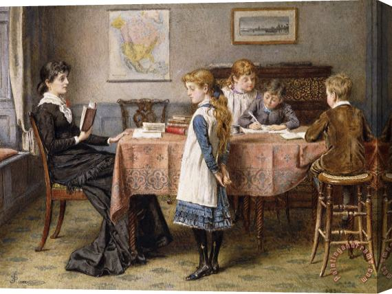 George Goodwin Kilburne The Lesson Stretched Canvas Print / Canvas Art