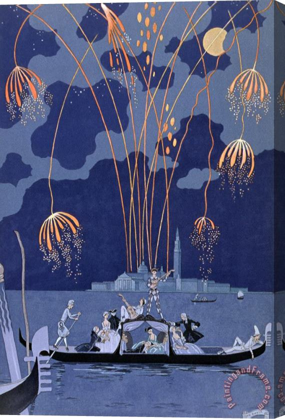 Georges Barbier Fireworks in Venice Stretched Canvas Print / Canvas Art