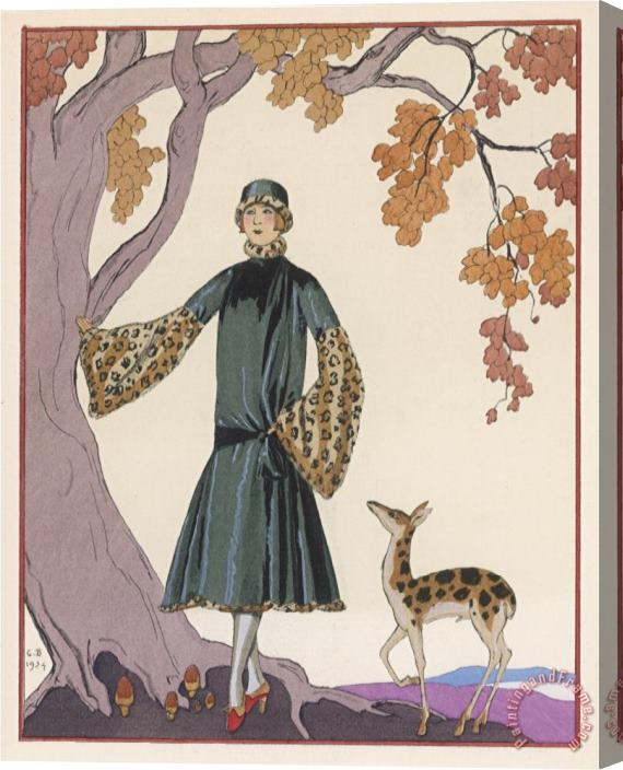 Georges Barbier Fur Hat And Coat by Worth Stretched Canvas Painting / Canvas Art