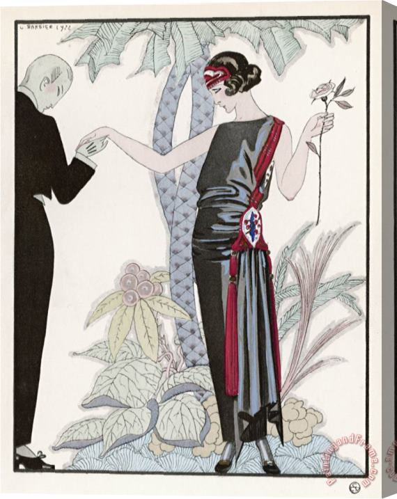 Georges Barbier Sleeveless Slash Neck Chinese Or Orientally Inspired Black Dress by Worth with Red Tassel Detail Stretched Canvas Painting / Canvas Art