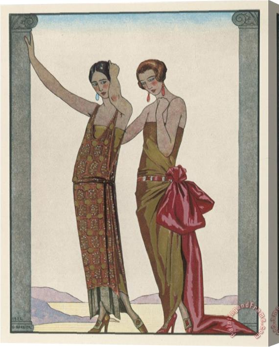 Georges Barbier Strapless Gold Dress Draped Up Over One Hip And Tied with a Large Sash Bow Which Creates a Train Stretched Canvas Painting / Canvas Art