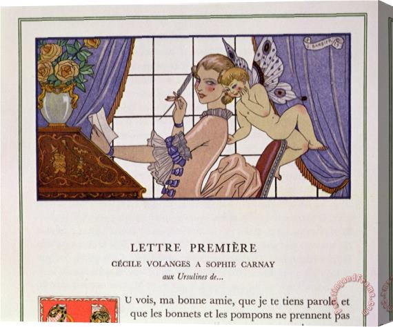 Georges Barbier The First Letter Illustration From Les Liaisons Dangereuses Stretched Canvas Print / Canvas Art