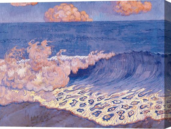 Georges Lacombe Blue Seascape Wave Effect Stretched Canvas Painting / Canvas Art