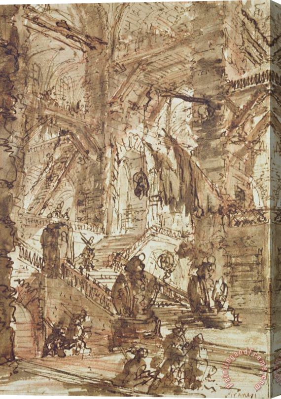 Giovanni Battista Piranesi Preparatory Drawing For Plate Number Viii Of The Carceri Al'invenzione Series Stretched Canvas Print / Canvas Art