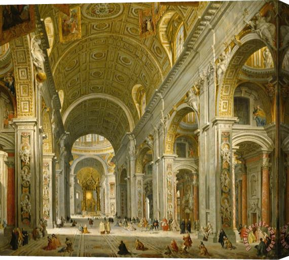 Giovanni Paolo Panini Interior of St. Peter's - Rome Stretched Canvas Print / Canvas Art
