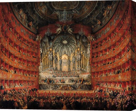 Giovanni Paolo Pannini or Panini Concert given by Cardinal de La Rochefoucauld at the Argentina Theatre in Rome Stretched Canvas Print / Canvas Art