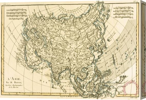 Guillaume Raynal Antique Map of Asia Stretched Canvas Print / Canvas Art