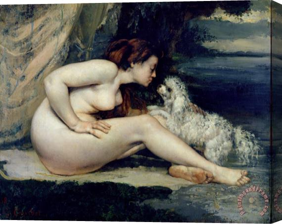 Gustave Courbet Female Nude with a Dog Stretched Canvas Print / Canvas Art