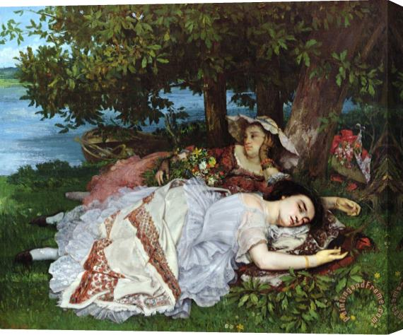 Gustave Courbet Girls on the Banks of the Seine Stretched Canvas Print / Canvas Art