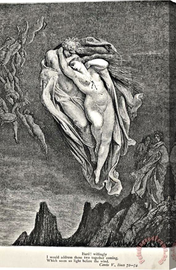 Gustave Dore Dante's Vision Of Hell Illustration Engraving Couple In Wind Stretched Canvas Print / Canvas Art