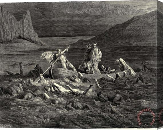 Gustave Dore The Inferno, Canto 8, Lines 2729 Soon As Both Embark'd, Cutting The Waves, Goes on The Ancient Prow, More Deeply Than with Others It Is Wont. Stretched Canvas Print / Canvas Art