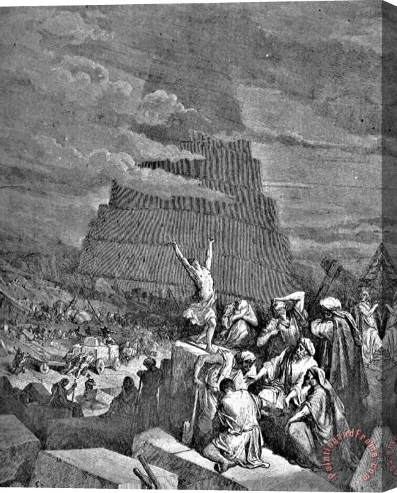 Gustave Dore Tower Of Babel Bible Illustration Stretched Canvas Print / Canvas Art
