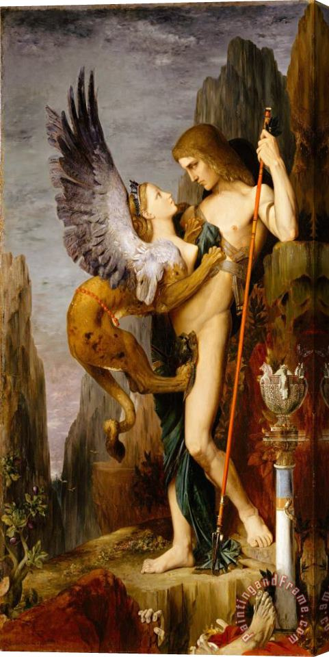 Gustave Moreau Oedipus And The Sphinx Stretched Canvas Print / Canvas Art
