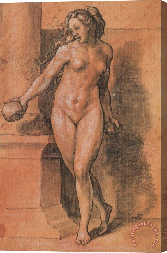 Hans Holbein the Younger Female Nude Stone Thrower Stretched Canvas Painting / Canvas Art