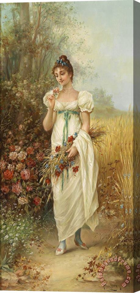 Hans Zatzka Circle Girl with Meadow Flowers And Roses Stretched Canvas Print / Canvas Art