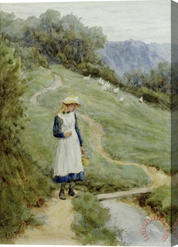 Helen Allingham The Goose-Girl Stretched Canvas Print / Canvas Art