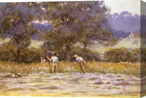 Helen Allingham The Mowers Stretched Canvas Print / Canvas Art