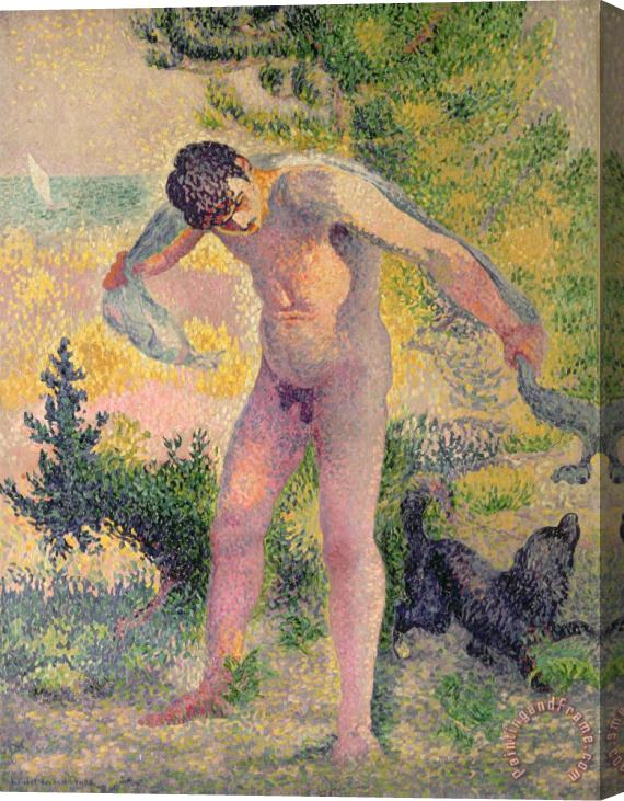 Henri-Edmond Cross Bather drying himself at St Tropez Stretched Canvas Print / Canvas Art