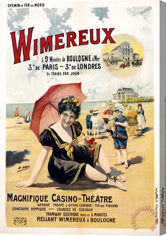 Henri Gray Wimereux Travel Poster Stretched Canvas Print / Canvas Art