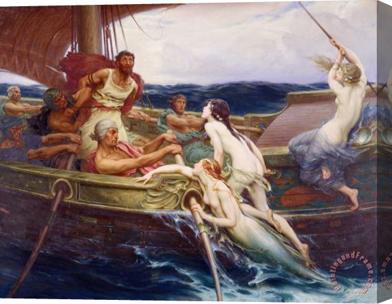 Herbert James Draper Ulysses and the Sirens Stretched Canvas Print / Canvas Art