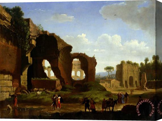 Herman Van Swanevelt A Roman View of The Ruins of The Temple of Venus And Rome with The Colosseum And The Arch of Constan... Stretched Canvas Print / Canvas Art