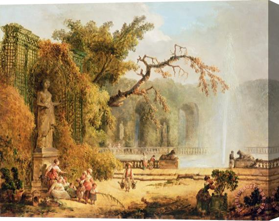 Hubert Robert Romantic garden scene Stretched Canvas Print / Canvas Art