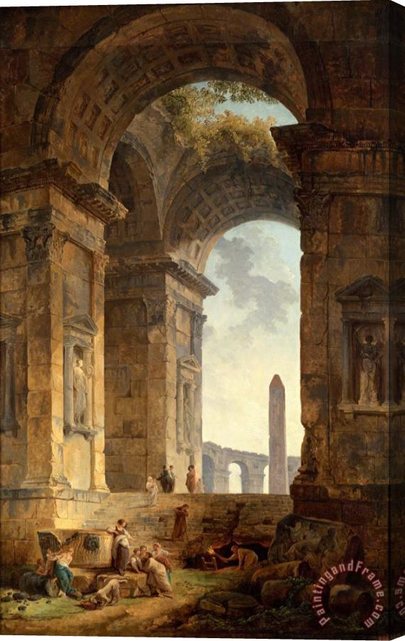 Hubert Robert Ruins with an Obelisk in The Distance Stretched Canvas Print / Canvas Art