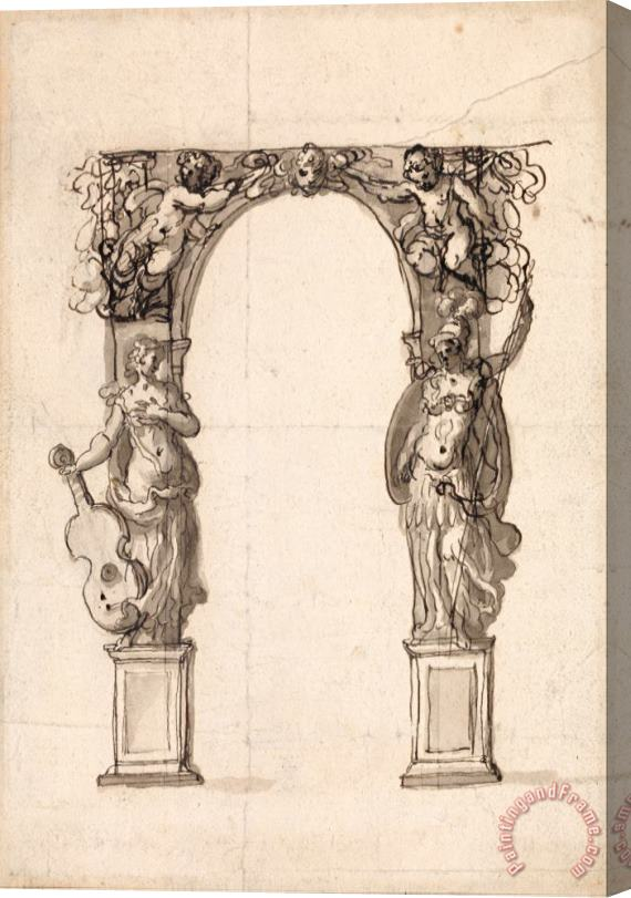 Inigo Jones Design for a Temporary Arch Ornamented with Putti And Allegorical Figures of Music And War Stretched Canvas Print / Canvas Art